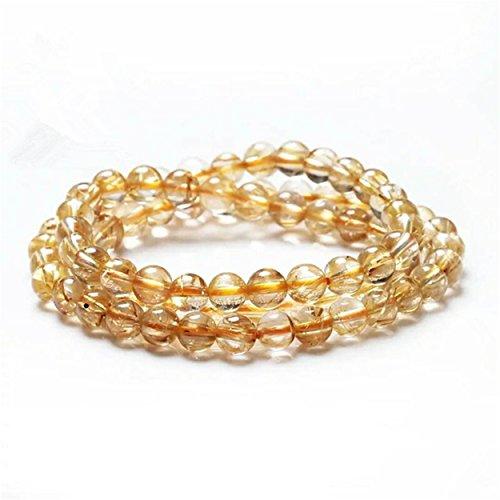 LiZiFang 5mm Natural Golden Rutilated Quartz Crystal Round Bead Bracelet