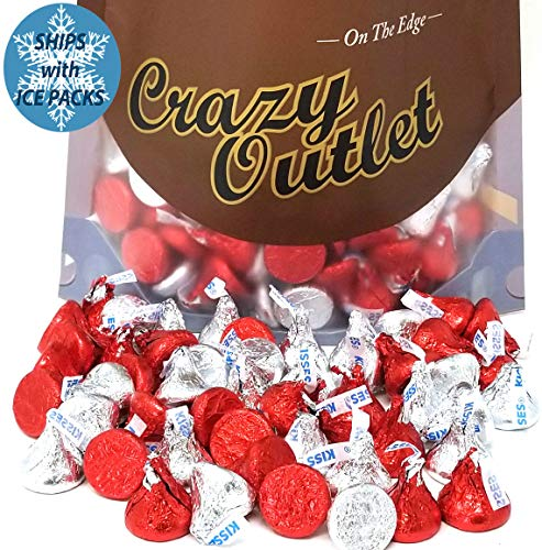 Hershey's Kisses, Red and Silver Foil, Milk Chocolate Mothers Day Candy, 2Lbs ()