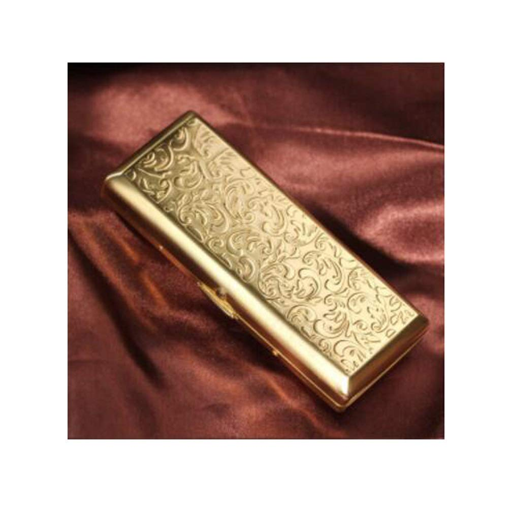 XIONGHAIZI Cigarette Case, Portable Ultra-Thin Creative Personality Stainless Steel Cigarette Case, Metal Cigarette Holder, Regular 10 Pieces, Fine Smoke 14 Pieces (Color : Gold)