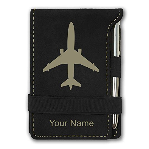 Airplane Stationery (Mini Pocket Notepad - Jet Airplane - Personalized Engraving Included (Black))