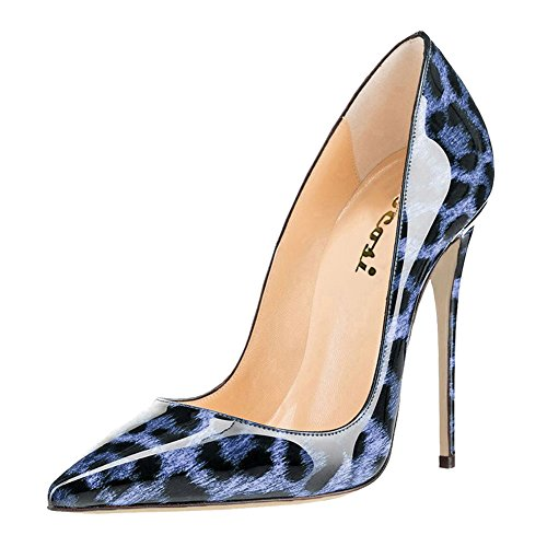 VOCOSI Women's High Heels,Pointed Toe Patent Pumps Shoes for Ladies Party Dress 4.7 inches Blue Leopard 7.5 US