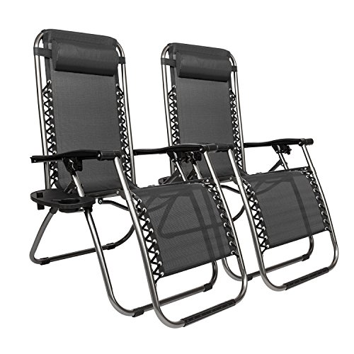 Tenozek 2PCS Folding Reclining Chair,Outdoor Patio Zero Gravity Chair