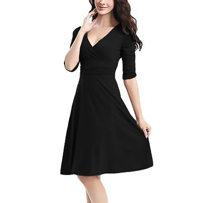 Abendkleider Kurz Daman Elegante 3/4 Ärmel V-Ausschnitt Swing Kleid A Linie Rüschen Partykleider Sommerkleid Casual Einfarbig