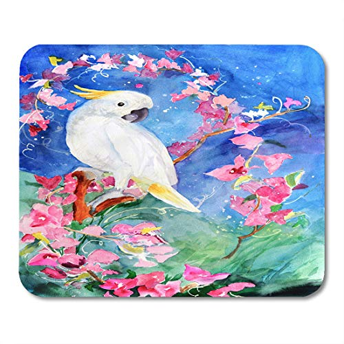Emvency Mouse Pads Yellow Animal Original Watercolor Painting of Tropical Cockatoo Bird and Pink Flowers Artistic Mouse pad 9.5