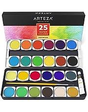 ARTEZA Estuche de pinturas de acuarela | 25 colores de calidad | Incluye un pincel de acuarela | Kit de iniciación a la pintura de acuarelas