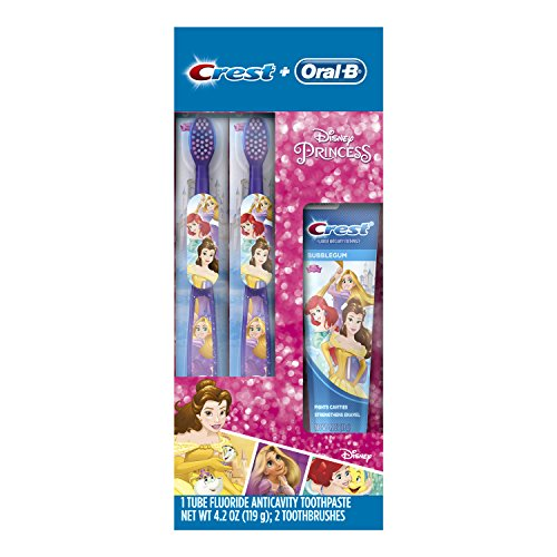 Protection Fluoride Anticavity Toothpaste (Oral-B and Crest Kids Pack Featuring Disney's Princess Characters, Kids Fluoride Anticavity Toothpaste and Two Toothbrushes)