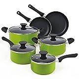 Cook N Home NC-00398 Juego de Ollas con Revestimiento Antiadherente, 10 Piezas, Verde