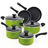 Cook N Home NC-00398 10-Piece Nonstick Coating Cookware Set, Green
