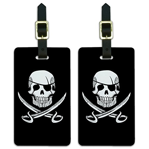 Pirate Skull Crossed Swords Tattoo Design Luggage ID Tags Cards Set of 2