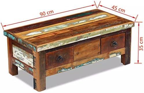 100% Authentiek Galapara salontafel, woonkamer, woonkamertafel, ladetafel, bijzettafel, koffietafel, 90 x 45 x 35 cm, gerecycled massief hout met 2 laden  NMih8fP