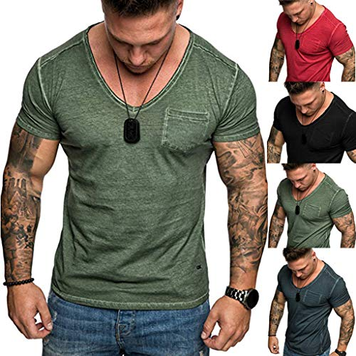 Men's Fashion Casual Summer Short Sleeve Round Neck with Pocket Big and Tall Slim Fit Tops T Shirt (L, Khaki)