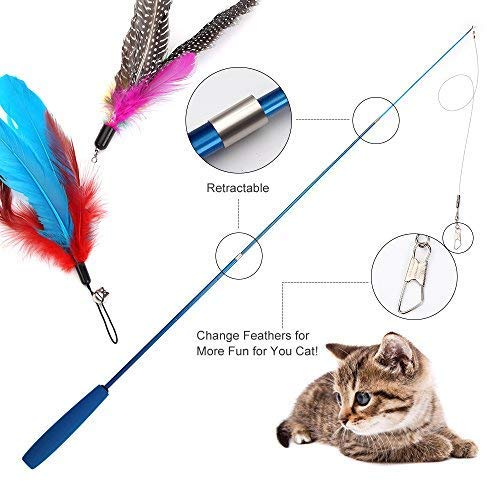 Becory Feather Teaser Cat Toy, Retractable Cat Feather Toy Wand with 5 Assorted Teaser with Bell Refills, Interactive Catcher Teaser for Kitten Or Cat Having Fun Exerciser Playing 4
