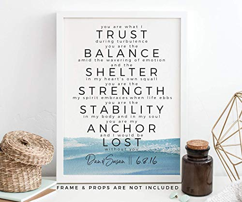Gift for Him, Personalized You Are My Anchor Art Print, First Wedding Anniversary Paper Gift (1 Year Anniversary Poems For My Boyfriend)