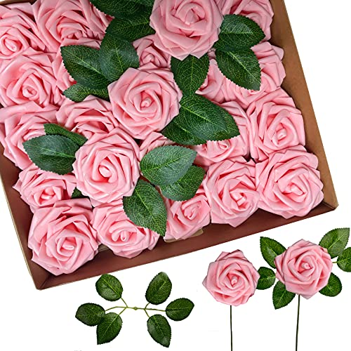 Artificial Flowers 25pcs Pink Flowers with Stems for DIY Wedding Decorations&Flower Centerpieces for Tables(25,Pink)