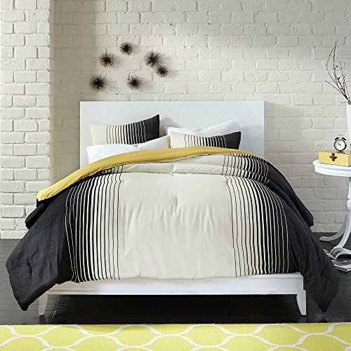 Modern 100% Cotton Reversible Kids Bedroom Bedding Ombre Striped Pattern Black White Gold Colors 7-Piece Bed Sheet in a Bag Comforter Set, FULL/QUEEN (Bed In A Bag Queen Ombre)