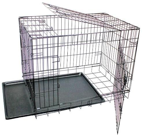Jaula para perros de metal puertas de transportín plegable negra xx cm