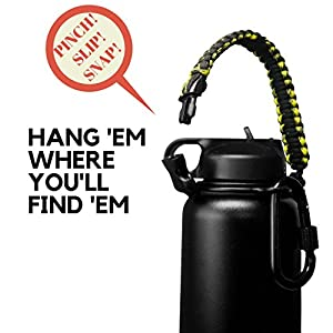 Hydro Flask Handle - Paracord Bottle Carrier w/ HIGH-STRENGTH D Buckle CARABINER and Safety Ring (Harvest Moon)