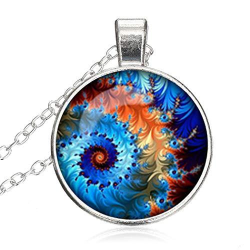SunShine Day Glass Cabochon Necklace (U Pick ) Fractal Necklace Pendant Fractal Jewelry Art Pendant Charm Turquoise Aqua Pendant A0504 ()