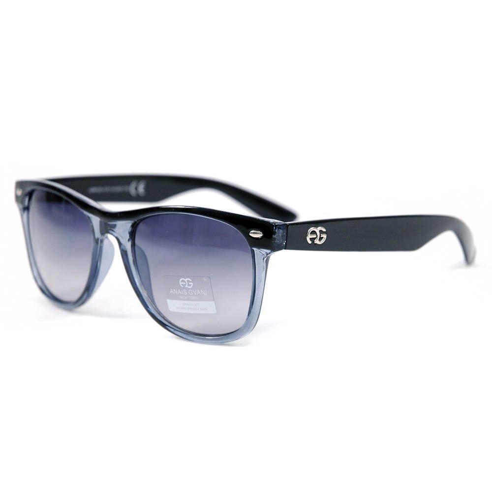 ba89c75603 Amazon.com  Anais Gvani Women s Classic Wayfarer Frame Sunglasses  -Black Transparent  Clothing