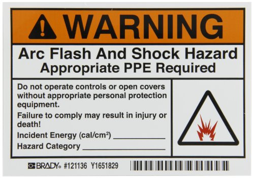 "Brady 121136 Vinyl Film 3.5"" x 5"" Arc Flash & Shock Labels (Warning,  Pictogram) , Black/Orange On White,  3.5"" Height x 5"",  Legend ""Warning Arc Flash And Shock Hazard Appropriate Ppe Required Do Not OLabels perate Controls Or Open Covers Without Appropriate Labels personal Protection Equipment. Failure To Comply May Result In Injury Or Death! (Arc Flash Picto) Refer To NFPA 70E For Minimum Ppe Requ"" (5 Labels per Package)"