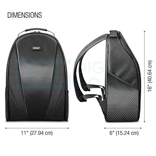 Vivitar Camera Backpack Bag for Sony Canon Fuji Panasonic Nikon DSLR & Mirrorless Digital Camera, Video Camera, Lenses and Photography Accessories - Black Camera Case with Tripod Holder
