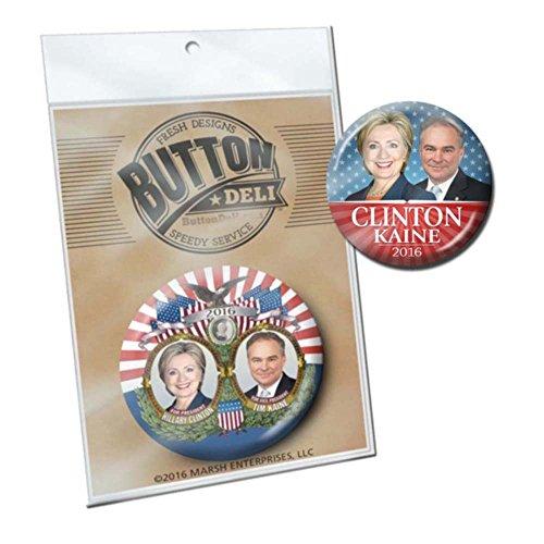 2 Marsh Enterprises Buttons - Hillary Clinton Tim Kaine Jugate - Vintage and Modern Designs (Hillary Clinton Campaign Buttons)