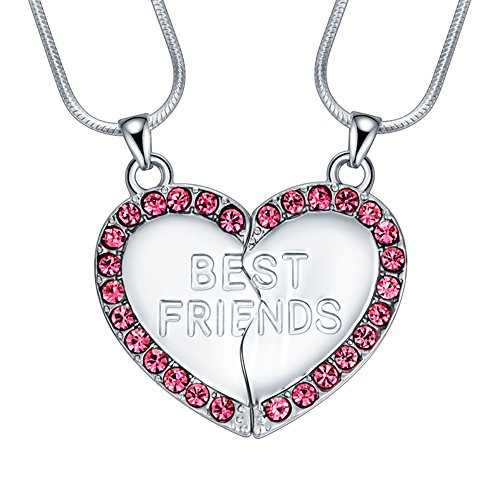 ELOI Best Friend Necklaces Pink Heart 2 Piece Gifts for Teen Girls 18 Inch Necklace Set