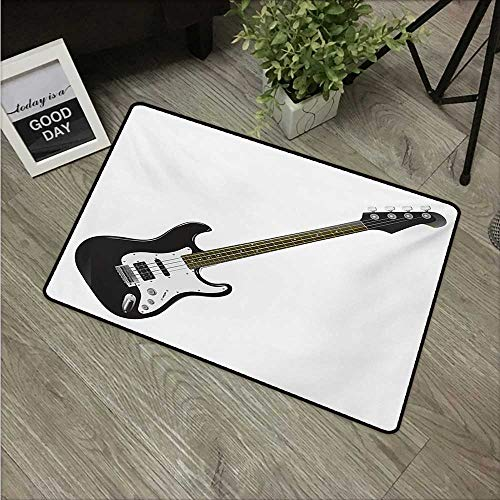 - HRoomDecor Guitar,Anti-Slip Doormat Bass Four String Rhythm Music Rock and Roll Element Detailed Illustration W 16