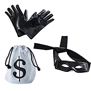 Robber Costume – Bandit Mask, Bag & Gloves – Burglar Aceessories – Thief Dress up