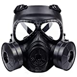 Konesky Gas Protective Mask Respirator, Breathable Air-Soft Double Filter Dustproof Fan CS Edition Face Guard Shield for Spray Painting/Cooking/Woodworking