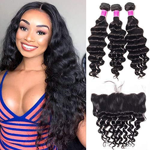 RECOOL 10A Loose Deep Wave Bundles with Frontal Closure Wet and Wavy Human Hair Bundles with Closure Ear to Ear Virgin Brazilian Hair For Women Natural Color(14 16 18+12)