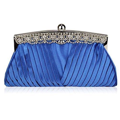 Bolso de embrague para mujer, diseño cristal Blue Ruched Satin Clutch