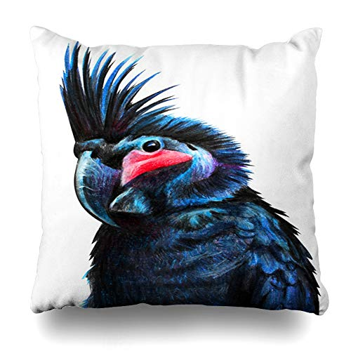 Ahawoso Throw Pillow Cover Red Astral Black Cockatoo Drawing Beak Australian Parrot Ancient Species Design Bird Home Decor Pillowcase Square Size 20