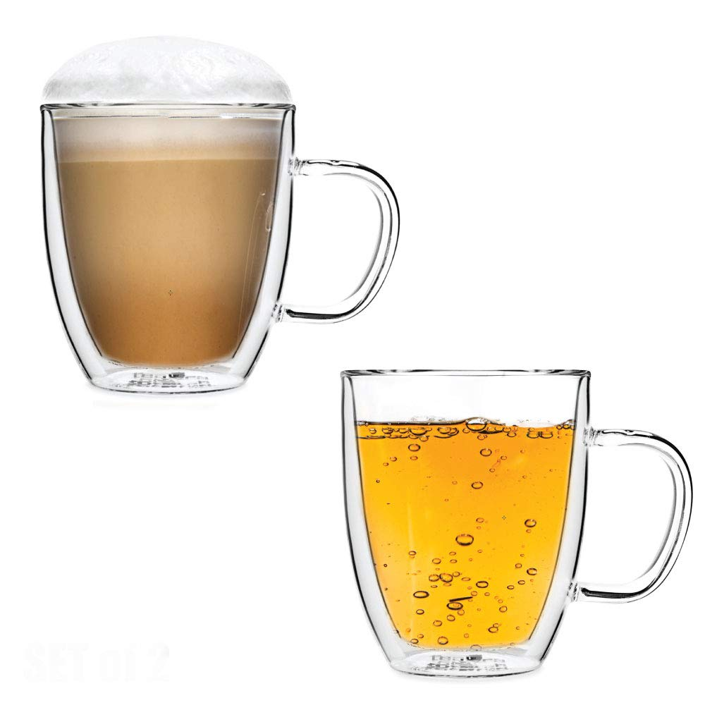 Tealyra - SIRIUS 16-ounce - Set of 2 - Large Double Wall Glass Mug With Handle - Heatproof Insulating - Keeps Beverages Hot - Perfect Clear Cup for Tea - Coffee - Cappuccino - 500ml
