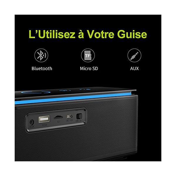Enceinte Bluetooth Portable, Batterie Externe 10000mAh 26W 4 Haut-Parleurs 24 Heures d'Autonomie Subwoofer Basses Puissantes Contrôle Tactile AUX/Micro Carte SD/TF/Microphone-Noir 6