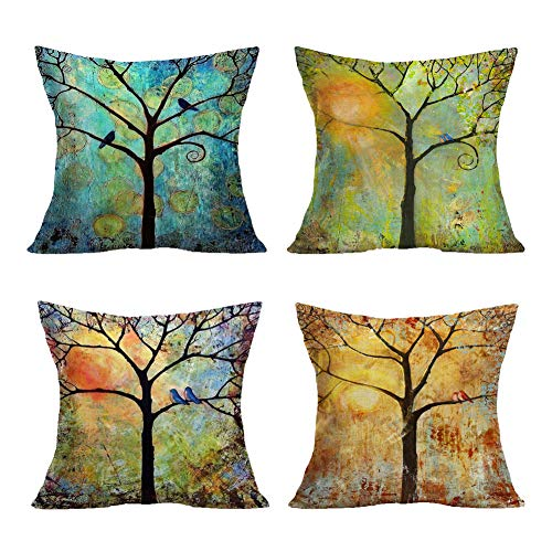 - Smilyard Set of 4 Oil Painting Trees Series Pillow Covers Decorative Cotton Linen Square Birds Pattern Throw Pillow Covers Home Decor for Couch Living Room 18X18 Inch