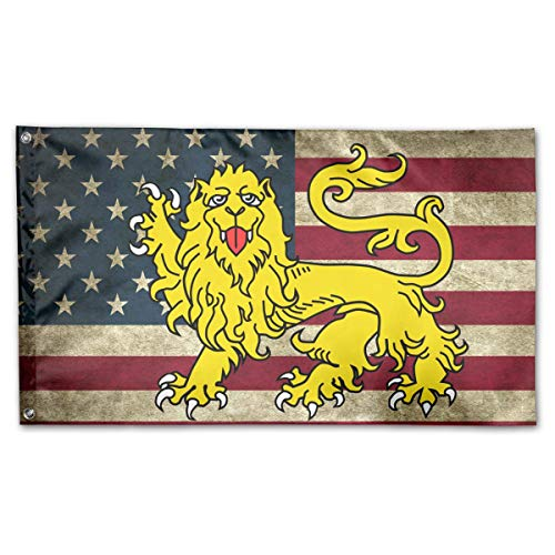 (WINDST Personalized Royal Arms of England Lion Heraldry Attitude Logo Garden Flag 3x5 ft Outdoor Garden Decorative Banner Black)