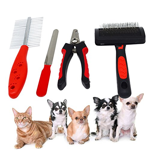 AOAMEET 4 pcs Pet Grooming Tool Kit (Fine-tooth Comb,Pet Grooming Brush, Pet Nail Clippers, File) for Dog Cat by AOAMEET