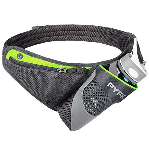 PYFK Running Belt Hydration Waist Pack with Water Bottle Holder for Men Women Waist Pouch Fanny Bag Reflective Fits iPhone 6/7 Plus (Green) -