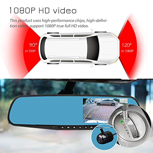 2010 Rear View Mirror (Ezonetronics Car Camera | Car Video Recorder Full HD 1080P | Car Video Camera 4.3 Inch LCD with Dual Lens for Vehicles Front & Rearview Mirror | DVR Vehicles Dash Cam 2010)