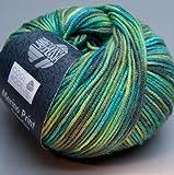 Lana Grossa Pelote à tricoter en laine mérinos très fine Cool Wool 784 Vert/kaki/turquoise 50 g