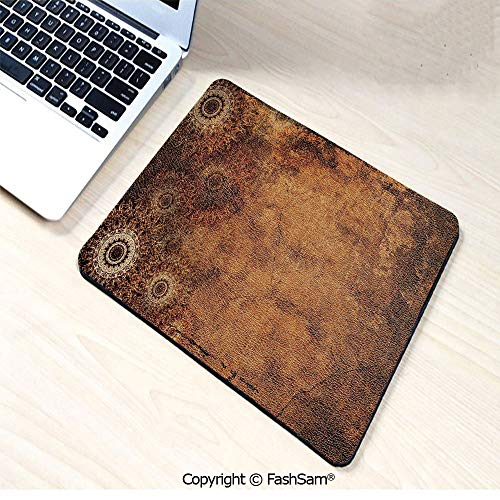 (Non-Slip Rubber Mouse Pads Aged Old Texture Print Artistic Floral Motifs Vintage Upholstery Concept for Computers Laptop Office(W9.85xL11.8))