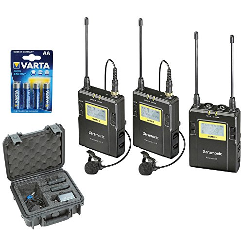 Saramonic UWMIC9 RX9 + TX9 + TX9, 96-Channel Digital UHF Wireless Dual Lavalier Mic System with SKB iSeries Waterproof System Case plus LR6 Alkaline Battery (4-Pack)