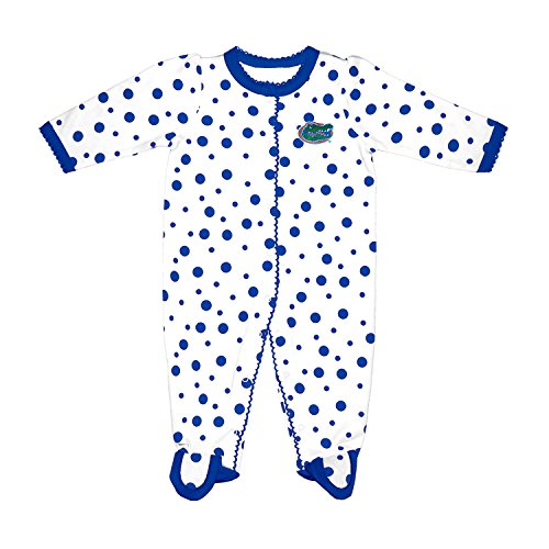 Two Feet Ahead NCAA Florida Gators Infant Polka Dot Footed Creeper Dress, Preemie, Royal