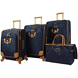 """Nicole Miller Paige Collection 4-Piece Luggage Set: 28"""", 24"""", 20"""" Spinners and Tote Bag (Navy)"""