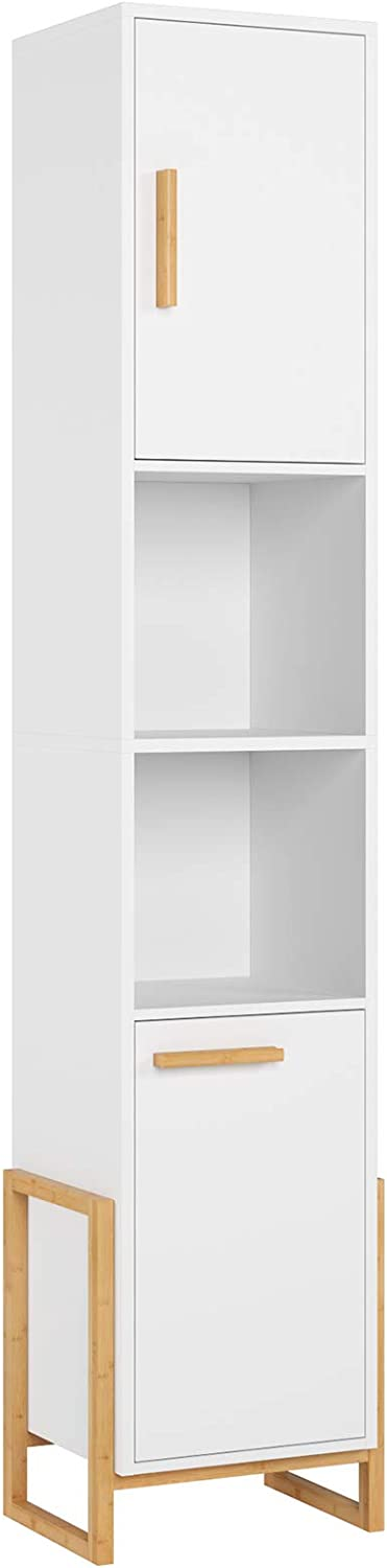 HOMECHO Tall Storage Cabinet, Bathroom Floor Tower Cabinet, Narrow Linen Cabinet with Doors and Shelves for Living Room, Kitchen, Bedroom, Closet, 12.6x11.8x67.3 Inch, White