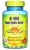Nature's Life B--100 High Folic Acid, 100 Mg, 100 Capsules (Pack of 3)