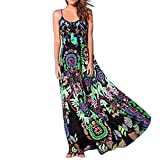 Kinrui Summer Dress for Women,Bohemian Floral Print Sling Sleeveless Long Beach Dress (Green, XL)