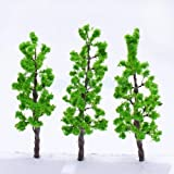 Shalleen 10pcs Green Pine Trees Model Train Set for Scenery Layout Landscape N-Z Scale