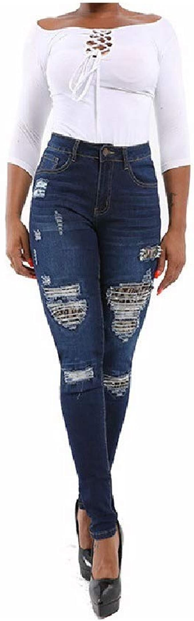 AngelSpace Women Leopard Ripped Hip-Up Solid Pocket Wash Stylish Straight Leg Jean